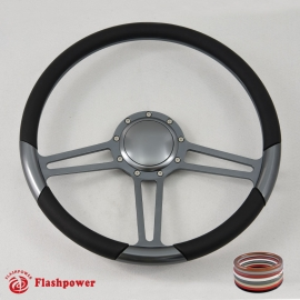 "14"" Gun Metal Billet Steering Wheel with Half Wrap and Horn Button"
