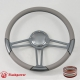 "15.5"" Gun Metal Billet Steering Wheel with Half Wrap and Horn Button"