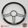 "15.5"" Trinity Gun Metal Billet Steering Wheel Fully Wrapped"
