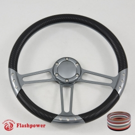 """14"""" Gun Metal Billet Steering Wheel Kit Half Wrap with Horn Button and Adapter"""