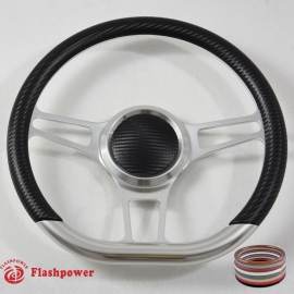 "14"" Gun Metal D-type Billet Steering Wheel With Black Half Wrap and Horn Buton"
