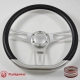 """14"""" Satin D-type Billet Steering Wheel With Carbon Fiber Half Wrap and Horn Buton"""