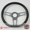 "14"" Gun Metal D-type Billet Steering Wheel With Carbon Fiber Half Wrap"