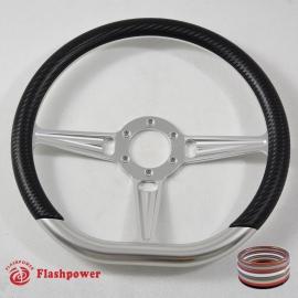 """14"""" Satin D-type Billet Steering Wheel With Carbon Vinyl Half Wrap"""