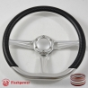 "14"" Satin D-type Billet Steering Wheel With Carbon Fiber Half Wrap and Horn Buton"