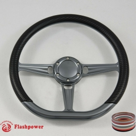 "14"" Gun Metal D-type Billet Steering Wheel With Carbon Fiber Half Wrap and Horn Buton"