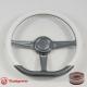 "14"" Gun Metal D-type Billet Steering Wheel With Carbon Fiber Half Wrap and Horn Buton"