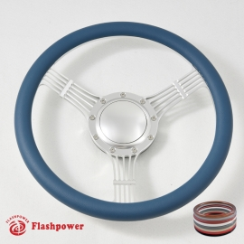 """14"""" Banjo satin Billet Steering Wheel With Half Wrap and Horn Buton"""