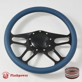 """14"""" Trickster Black Billet Steering Wheel With Blue Half Wrap and Horn Button"""
