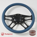 """14"""" Black Billet Steering Wheel With Blue Full Wrap and Horn Buton"""