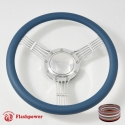 "15.5"" Polished Billet Steering Wheel With Blue Half Wrap and Horn Buton"