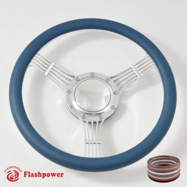 """5-String Banjo 14"""" Polished Billet Steering Wheel Kit Half Wrap with Horn Button and Adapter"""