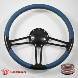 "15.5"" Black Billet Steering Wheel With Blue Half Wrap and Horn Buton"