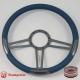 """15.5"""" Trinity Gun Metal Billet Steering Wheel Fully Wrapped"""