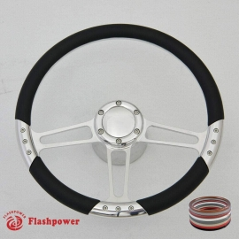 """Trinity VI 14"""" Polished Billet Steering Wheel Kit Half Wrap with Horn Button and Adapter"""