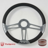 "14"" Gun Metal Billet Steering Wheel Kit With Half Wrap"