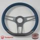 "14"" Gun Metal D-type Billet Steering Wheel With Black Half Wrap"