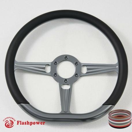 """14"""" Gun Metal D-type Billet Steering Wheel With Carbon Fiber Half Wrap"""