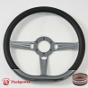 "14"" Gun Metal D-type Billet Steering Wheel With Black Half Wrap"