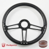 "14"" Black Billet Steering Wheel With Half Wrap"