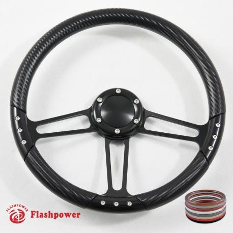 14'' Satin Steering Wheel Kit Half Wrap with Horn Button